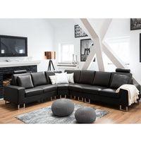 Narożniki, Stylowa sofa kanapa z czarnej skóry naturalnej narożnik STOCKHOLM