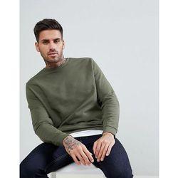 ASOS Sweatshirt With Hem Extender In Khaki - Green