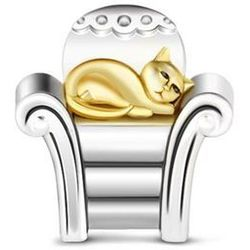 Rodowany srebrny charms do pandora leżący leniwy kot lazy cat srebro 925 NEW199