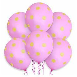 Balony pastelowe różowe w żółte grochy - 30 cm - 100 szt.