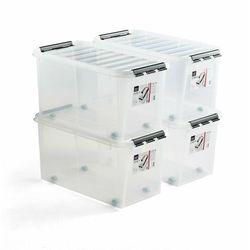 Pojemnik plastikowy LEE z pokrywą, 70 L, 4 szt., 720x400x380 mm, przezroczysty