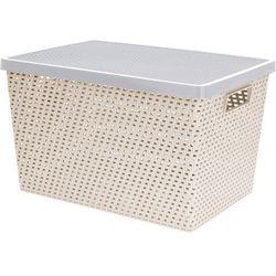 Pudełko, pojemnik do przechowywania, prostokątne, zamykane, kosz na pranie - 37 x 18 x 23 cm