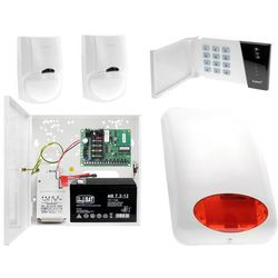 System alarmowy altany działkowej Płyta główna CA-4 VP Manipulator CA-4 VKLED 2x Czujka ruchu LC-100 Sygnalizator zewnętrzny