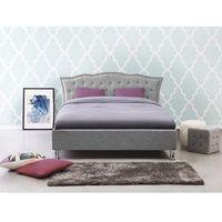 Łóżka, Łóżko szare - 140x200 cm - tapicerowane - ze schowkiem na pościel - METZ