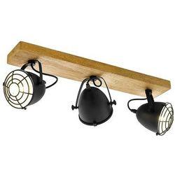 Listwa Eglo Gatebeck 49078 kinkiet lampa ścienna sufitowa spot 3x40W E14 czarna/drewno