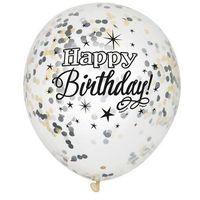 Balony, Balony przezroczyste z nadrukiem oraz konfetti w środku - 30 cm - 6 szt.