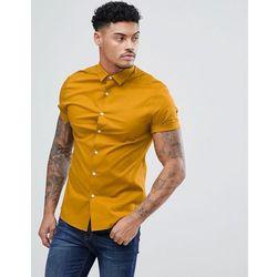 ASOS DESIGN skinny shirt in mustard with short sleeves - Yellow