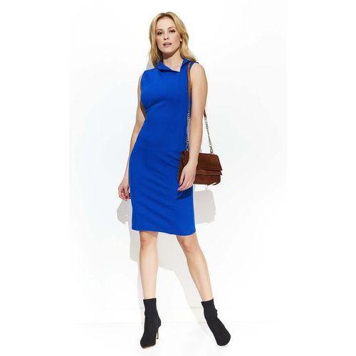 Suknie i sukienki, Chabrowa Elegancka Sukienka z Efektownym Kołnierzykiem