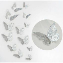 Ozdobne motylki srebrne metaliczne - 11 x 9 cm - 12 szt.