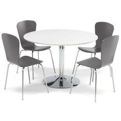 Zestaw mebli do stołówki, stół Ø1100 mm, biały, chrom + 4 krzesła antracyt