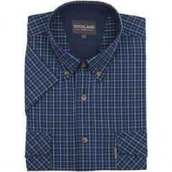 Granatowa koszula Dockland w kratkę, z krótkim rękawem