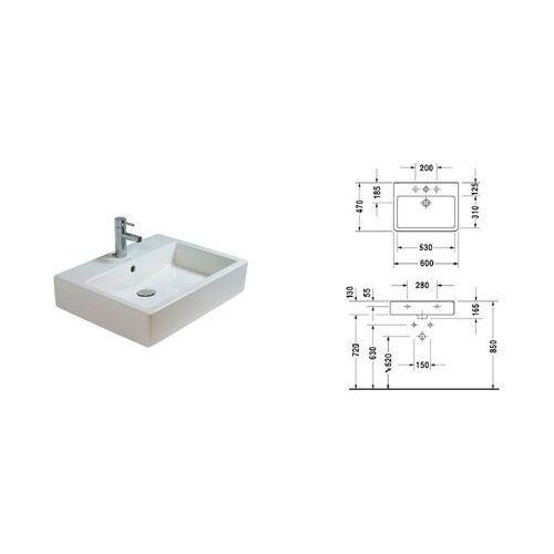 Umywalki, Vero, Umywalka, kolor: Biały, 1 przygotowany otwór na baterię, 600 x 470 mm, 0454600000, Duravit