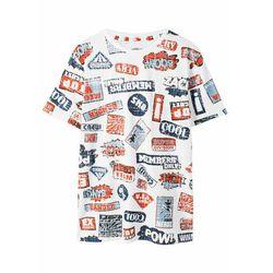 T-shirt z modnym nadrukiem bonprix biel wełny z nadrukiem