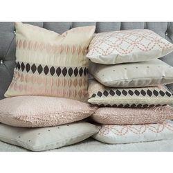 Poduszka dekoracyjna wzorzysta bawełniana biała/różowa