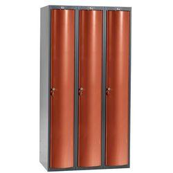 Szafa szatniowa Curve 3 sekcje 3 drzwi 1740x900x550 mm czerwony metalik