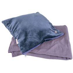 Zestaw - poduszka masująca i koc inSPORTline Trawel, Ciemny niebieski