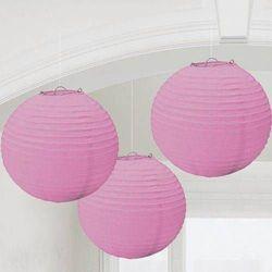 Lampiony różowe - 25 cm - 3 szt.