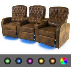 vidaXL 3 połączone fotele rozkładane z LED, brązowa, sztuczna skóra Darmowa wysyłka i zwroty