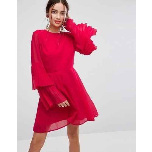 Suknie i sukienki, ASOS Triple Pleated Sleeve Mini Skater Dress - Multi