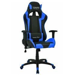 Czarno-niebieski fotel gamingowy ergonomiczny - Trevos