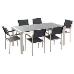 Stół granitowy szary polerowany 180 cm z 6 czarnymi krzesłami - GROSSETO