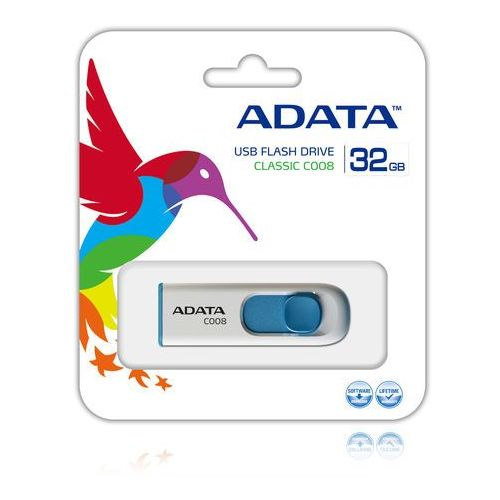 Flashdrive, ADATA pamięć C008 32GB USB 2.0 ( White+Blue )