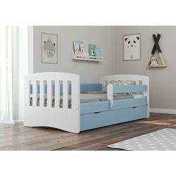Łóżko dziecięce, barierka ochronna, classic, niebieski, biały, mat