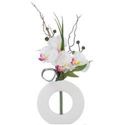 Sztuczna orchidea, w oryginalnej doniczce, sztuczne kwiaty, uniwersalna dekoracja, ozdoba, biało-różowe kwiaty, biała doniczka,