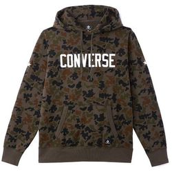 Sweter z kapturem, naszywka z przodu