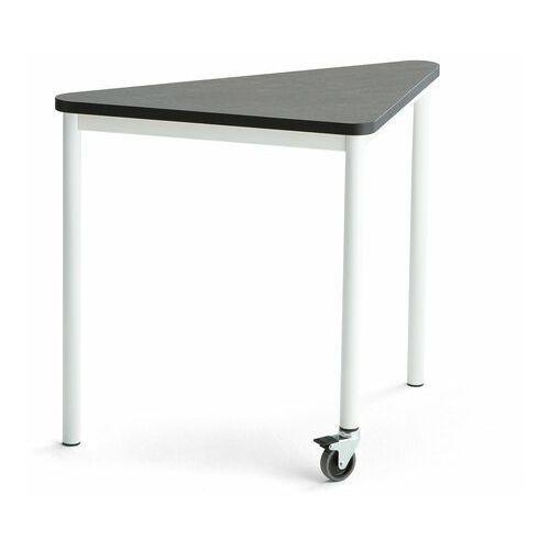 Pozostałe meble biurowe, Stół SONITUS TRIANGEL, z kółkiem, 905x605x720 mm, ciemnoszare linoleum, biały
