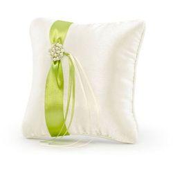 Poduszka pod obrączki kremowa z zieloną tasiemką - 1 szt.