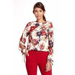 Kwiatowa Elegancka Bluzka z Wiązaniem przy Rękawach