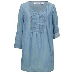 """Długa bluzka, rękawy 3/4 bonprix niebieski """"bleached"""