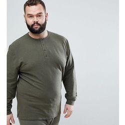 ASOS DESIGN Plus Sweatshirt With Button Neck In Khaki Nepp - Green