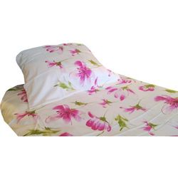 POŚCIEL satyna bawełniana, różowe kwiaty