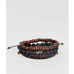 ASOS Leather And Beaded Bracelet Pack In Black And Brown - Brown