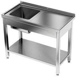 Stół nierdzewny ze zlewem 1-komorowym i półką