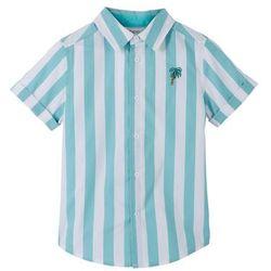 Koszula z krótkim rękawem w paski bonprix biało-zielony oceaniczny w paski