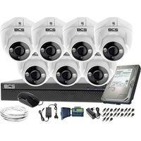Zestawy monitoringowe, Kompletny zestaw do monitoringu 7 kamer kopułkowych do firmy placu BCS-XVR0801 7x BCS-DMQE1200IR3-B Dysk 1tB Akcesoria
