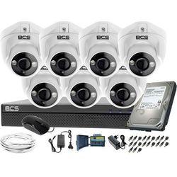 Kompletny zestaw do monitoringu 7 kamer kopułkowych do firmy placu BCS-XVR0801 7x BCS-DMQE1200IR3-B Dysk 1tB Akcesoria