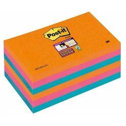 Karteczki POST-IT Super Sticky (655-6SS-EG), 127x76xmm, 6x90 kart., promienne kolory