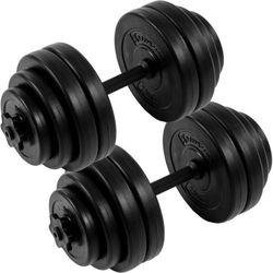 ZESTAW HANTLI 2 X 15 KG CIĘŻARKI 30 KG DO ĆWICZEŃ - 2x 15 kg / Bitumiczne / Czarne