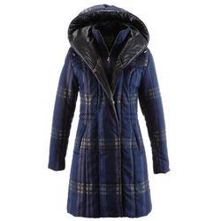 Płaszcz pikowany bonprix ciemnoniebieski w kratę