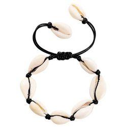 Bransoletka damska sznurek muszle muszelki czarna - czarna