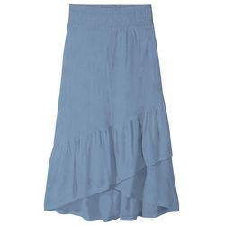 Spódnica z dżerseju z falbanami bonprix matowy indygo