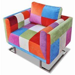 vidaXL Fotel w formie kostki z chromowaną podstawą, patchworkowy Darmowa wysyłka i zwroty