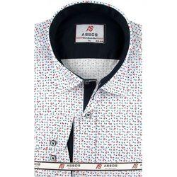 Koszula Męska Assos biała we wzory SLIM FIT na długi rękaw A091