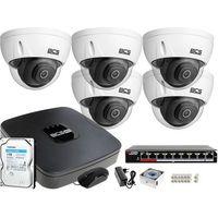 Zestawy monitoringowe, 5x BCS-DMIP3201IR-E-V BCS-NVR08015ME-II Monitoring Osiedla Dysk 1TB Akcesoria
