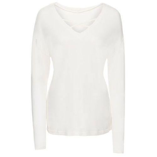 Bluzki, Shirt ze sznurowaniem bonprix biel wełny