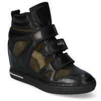 Damskie obuwie sportowe, Sneakersy Carinii B5819-E50-J54-I45-B88 Czarne/Zielone lico+zamsz